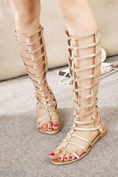 Knee-Length Gladiator Caged Sandal Flats - Black / Gold