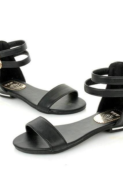 Double Ankle Strap Open Toe Sandal Flats with Back Zipper - Black/White