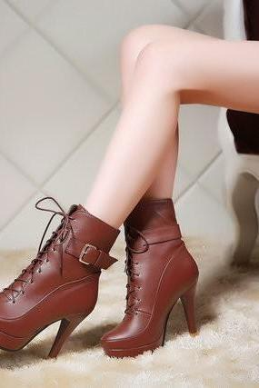 Ulass ankle bootsNew winter boots women fashion sexy stiletto boots motorcycle boots belt buckle riding boots