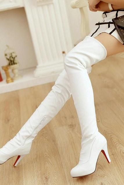 Ulass New sexy stiletto knee boots women black white brown stretch boots large size shoes women