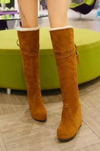 Ulass High Heel Shoes Winter New Faux suede fur Snow boots women wedge heels over the knee boots