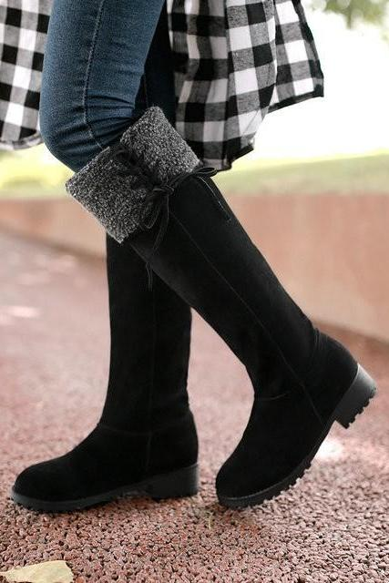 Ulass New Faux suede Female fashion Chunky heel knee boots Women plush boots Black Red Yellow Drop Shipping