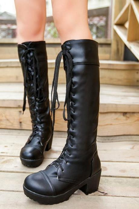 Ulass Large Size 34-43 Lace Up Thigh High Boots For Women Autumn and Winter Knee High Boots Black and White Fashion Shoes Hot Sale