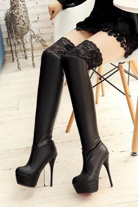 Ulass Hot Sale 2016 Brand Spring Lace Over The Knee Boots High Heels Sexy Tall Female Boots Black Thigh High Boots Big Size 34-43