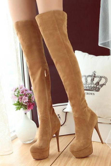 Faux Suede Rounded-Toe Platform Over-The-Knees High Heel Boots Featuring Side-Zipper