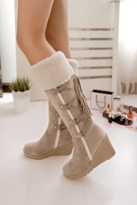 Ulass 2016 New Winter Snow Bots Slope with High Boots After Lace Tassel Boots Warm Winter Boots Female High-Heeled Boots