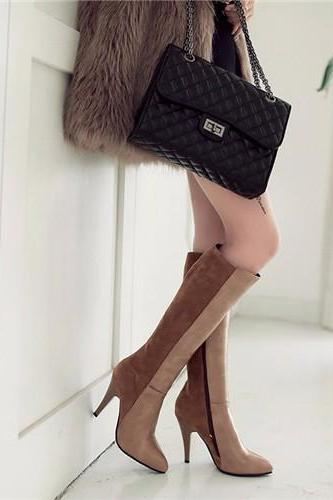 Patent Leather High Heel Two-Tone Knee High Pointed Toe Boots with Zipper Closure