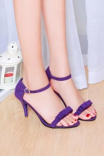 Open-Toe Bow Accent Ankle Strap Stiletto High Heels