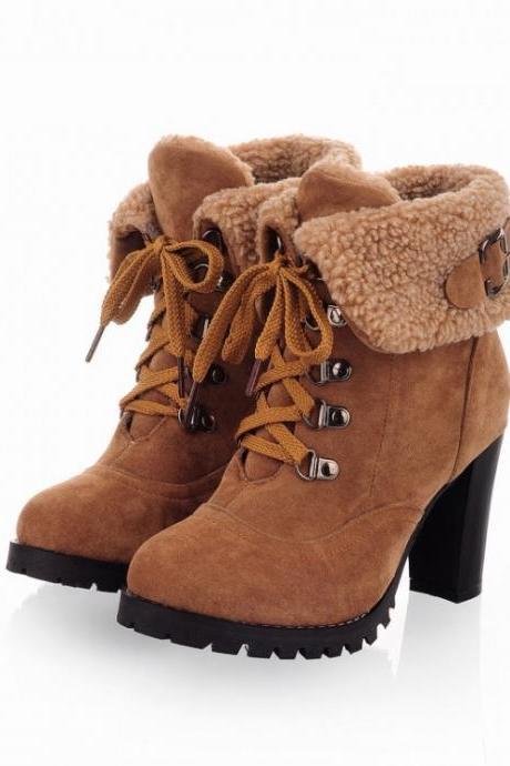 Ulass 2016 new autumn and winter low front tie Plush warm cotton women shoes with rough boots boots size ST-024