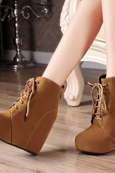 Ulass New Spring Winter women ankle boots Wedges solid Round Toe Lace Up Lining Plush Fashion Black Beige Yellow Zapato ST-030