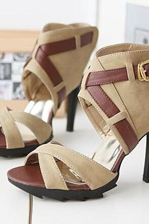 Ulass Big size 34-43 Factory Sell Summer Gladiator High Heels Lady Sandals Peep toe Women Dress Evening Shoes Pumps Black Brown ST-035