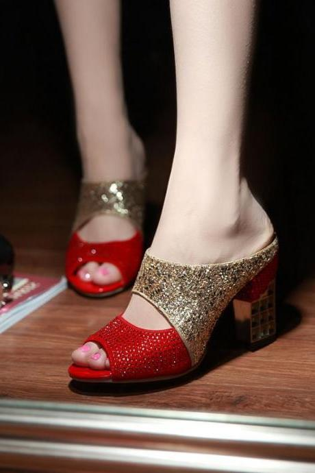 Ulass New arrival Elegant Sweets Fashion Summer Women's Sandals Patchwork Sequined Cloth Hoof Heels Slides Glitter Fashion Sexy ST-036