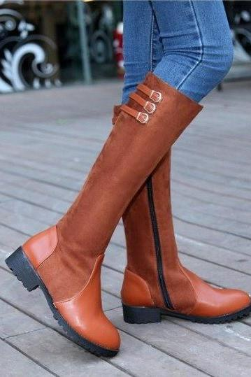 Autumn Winter Knee Length Round Toe Tall Boots With Side Zipper, large plus size 40-43 ST-042
