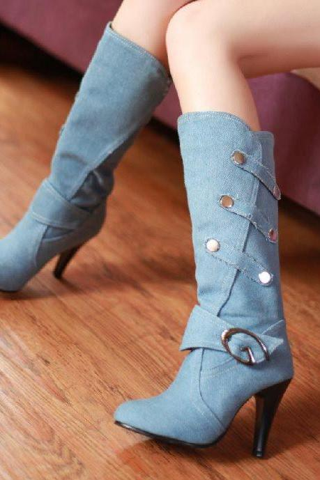 Ulass Big size 32-43 New women Spring autumn fashion Half boots denim Thin heels Buckle strap Solid Black Blue Fashion Cool Hot sale ST-043