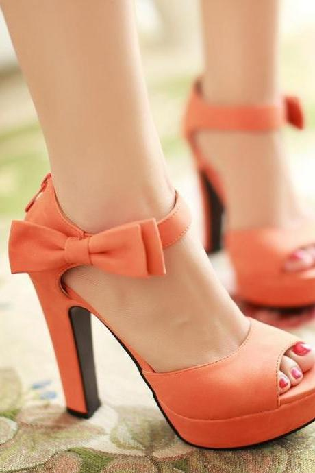 Ulass New summer Peep toe Ankle strap orange Sweet high heel Sandals Platform Lady shoes Bowtie 4 Colors Spike heels Bowtie Buckle ST-055