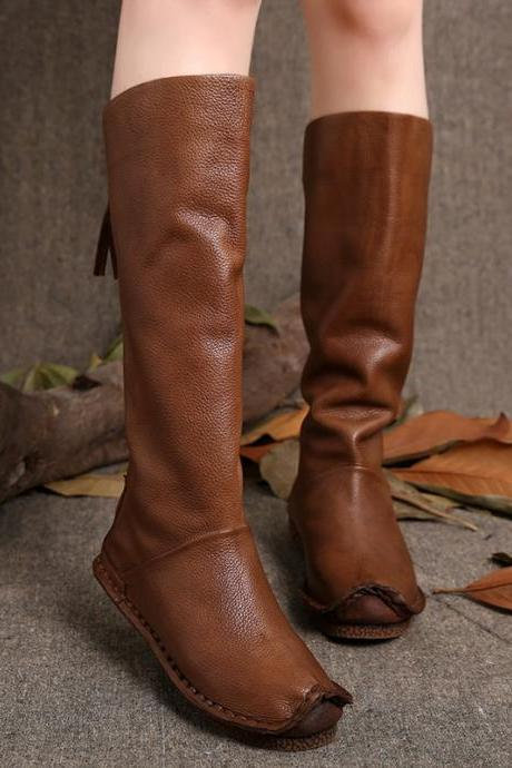 Ulass 2016 Vintage Style Women Boots Knee High Genuine Leather Back Zip Handmade Shoes High Boots ST-058