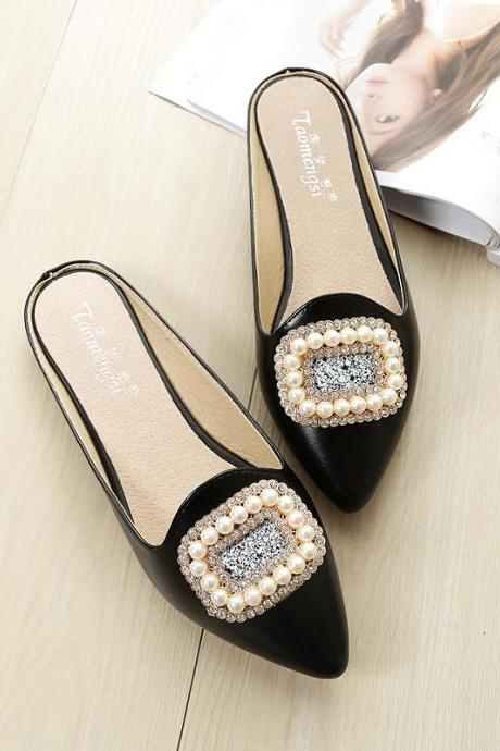 Pointed Toe Flat Mules with Crystal and Pearl Embellishment