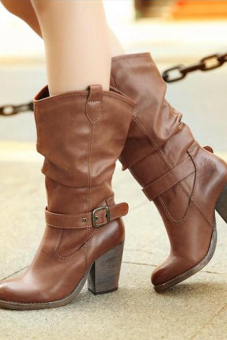 Ulass Winter Thick Heels Buckle Retro Women Half Boots Spring Autumn Fashion Lady Vintage Martin Boots Motorcycle Knight Boots ST-064
