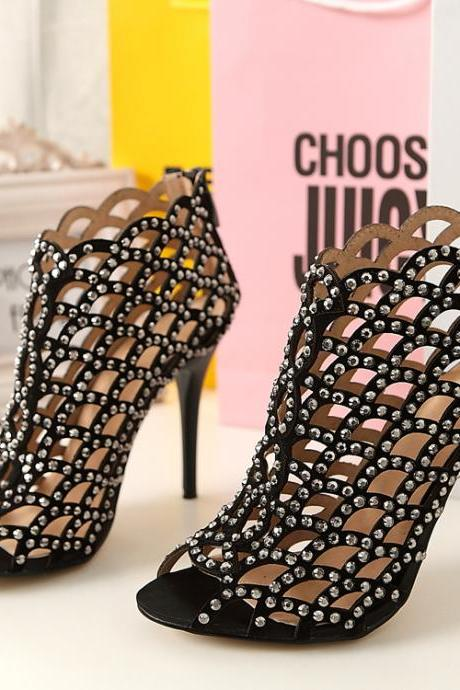 Peep-toe Rhinestone Embellished Caged High Heel Sandals