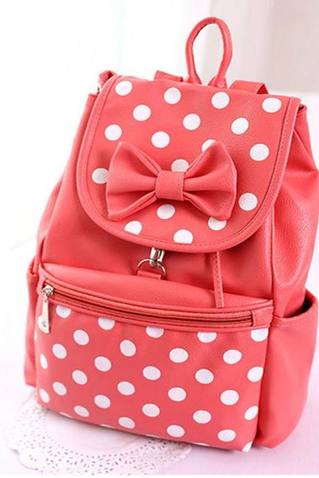 Ulass Sweet Cute Bow Dot Casual Leather Backpack-BB-3