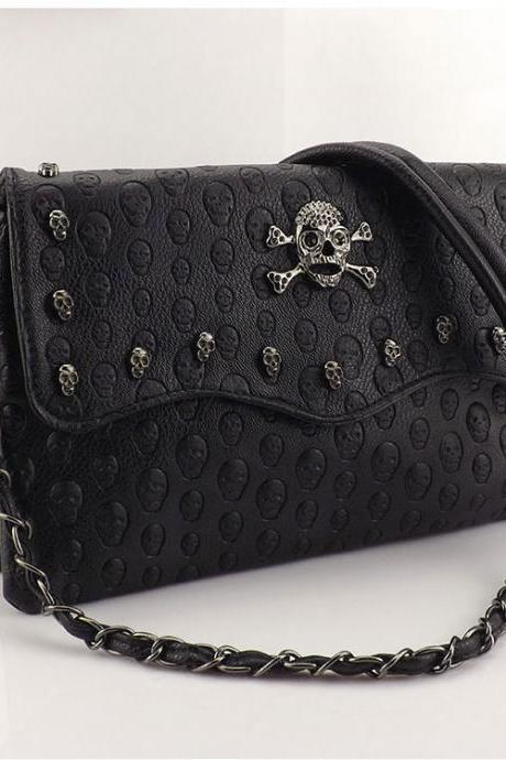 Ulass Punk Style Rivet Skull Printed Shoulder Bag-BB-12