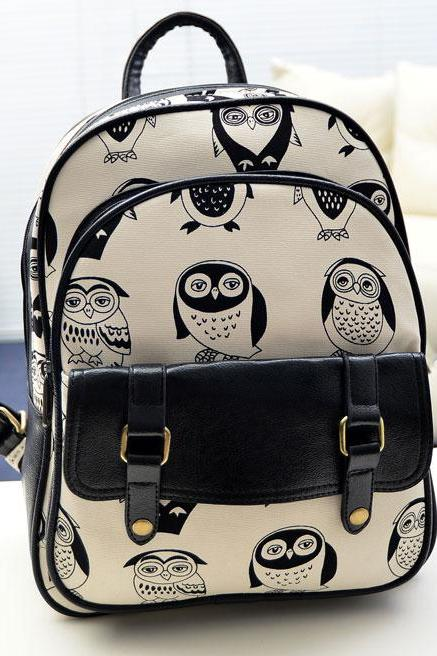 Ulass Leisure Fresh Owl Cartoon School Backpack-BB-21