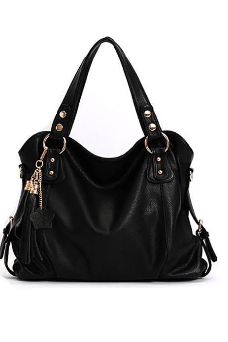 Ulass Elegant Tassel Black Handbag & Shoulder Bag-BB-23