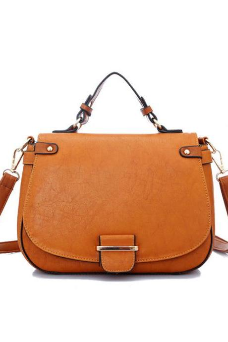 UlassBrown Retro Contrast Color Shoulder Bag-BB-29