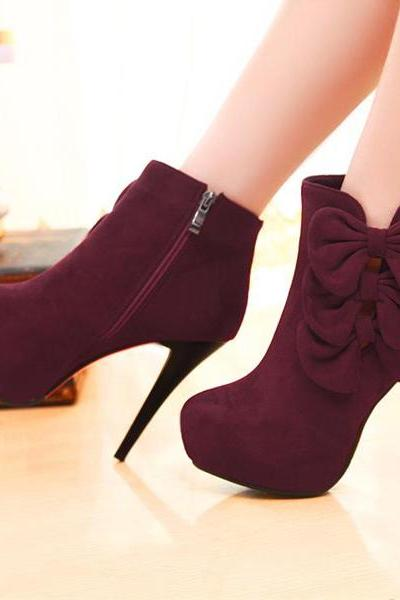 Ulass Elegant Bow Embellished Stiletto Heel Fashion Boots