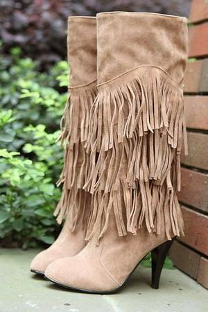 Ulass Knee High Heel Fringe Boots