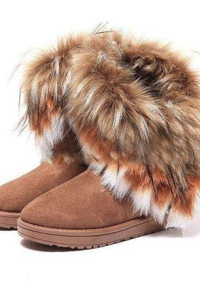 Ulass Hot sale autumn and winter snow boots Feathers fox fur flat-bottomed short cotton-padded shoes winter boots