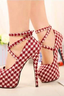 Houndstooth Printed Stiletto Pumps with Crisscross Ankle Straps