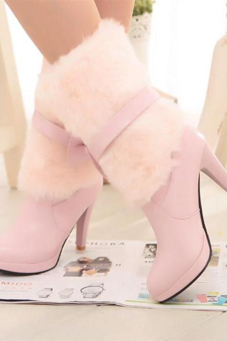 Ulass Simply Adorable Pastel Pink Bow knot High Heel Winter Boots