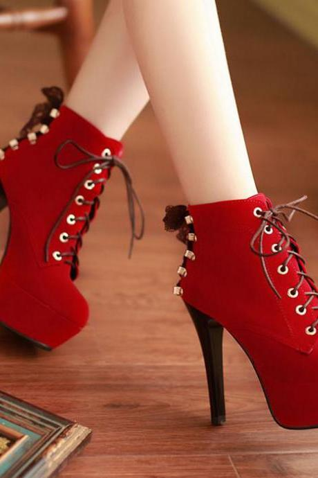 Ulass Red Suede High Heels Lace Up Ankle Boots