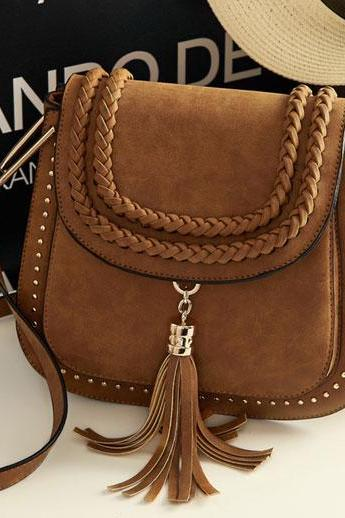 Braided Saddle HandBag with Tassel and Metallic Studs