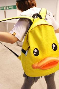 Ulass Cute Yellow Duck Canvas Backpacks BB-34