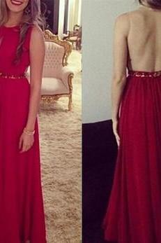 Ulass Cheap Sexy Red Handmade Long Chiffon Beaded See Through Prom Dresses, Prom Gowns 2016, Red Evening Dresses