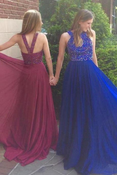 Ulass High Quality Prom Dress,Royal Blue Prom Dress,Long Prom Dress With Beaded,A Line Evening Dress,Prom Party Dress,Formal Dress For Wedding