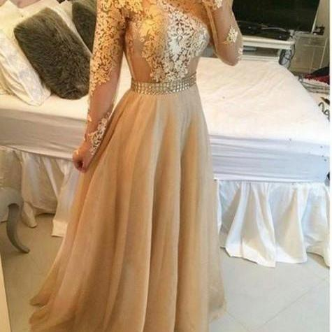 Ulass Appliques Gold Prom Dresses, Floor-Length Prom Dresses, Real Made Evening Dresses,Chiffon Backless Evening Dresses, Evening Dresses