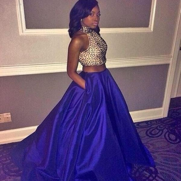 Two Pieces Royal Blue Satin Prom Dresses 2016 High Neck Sparkly Beading Long Evening Gowns Vestidos De Festa Sexy Party Dress
