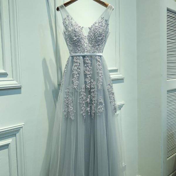 Ulass V Neckline Grey Lace Evening Prom Dresses, Tulle Long Party Prom Dresses, Custom Cheap prom dresses, prom dresses shop, online prom dresses,