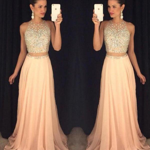 Two Pieces Long Prom Dresses, 2017 Crystal Evening Dress, A Line Chiffon Prom Party Dress, Floor Length Gala Gowns, Sexy Sheer Prom Party