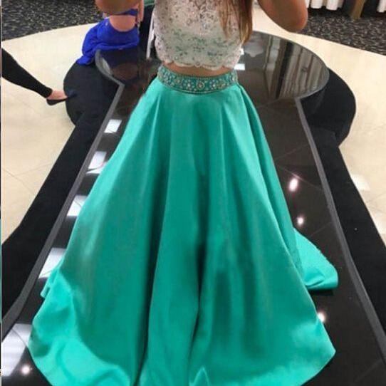 Mint Green Prom Dresses, 2 Piece Prom Gowns,2 Piece Prom Dresses,Two Piece Prom Dress, Lace Prom Dresses,A-line Prom Gown,2016 Prom Dress