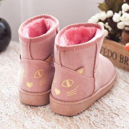 Ulass Cute Kitty Snow Fur Boots. Four Colors Available