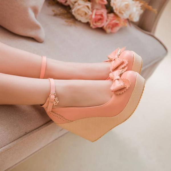 Ulass Simply Gorgeous Bow Embellished Pink Wedge Shoes ST-077