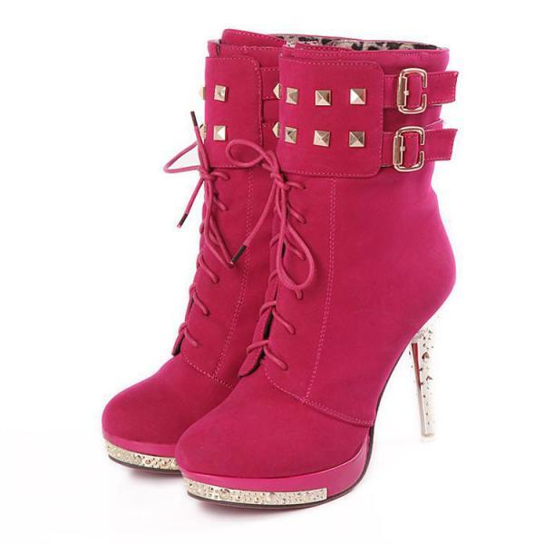 UlassSexy Lace Up Rivets High Heels Suede Fashion Boots ST-116