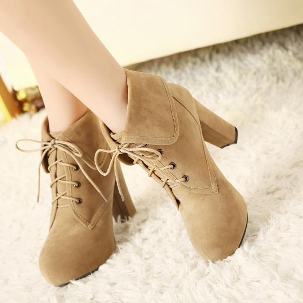 Ulass Elegant Apricot and Black Chunky Heel Ankle Boots ST-127