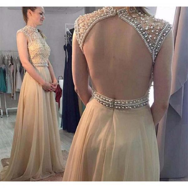 Ulass 2017 Prom Dresses,A-line Prom Dresses,Beaded Prom Dresses,Champagne Prom Dresses,Evening Dresses,Open Back Prom Dress,Party Dresses