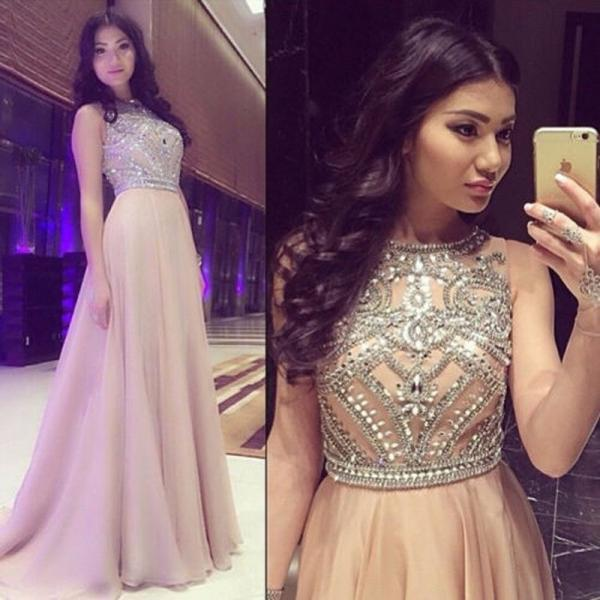 Ulass A-line Prom Dresses,Long Prom Dresses,Beaded Prom Dresses,Champagne,Plus Size Prom Dresses,Evening Dresses,Party Dresses