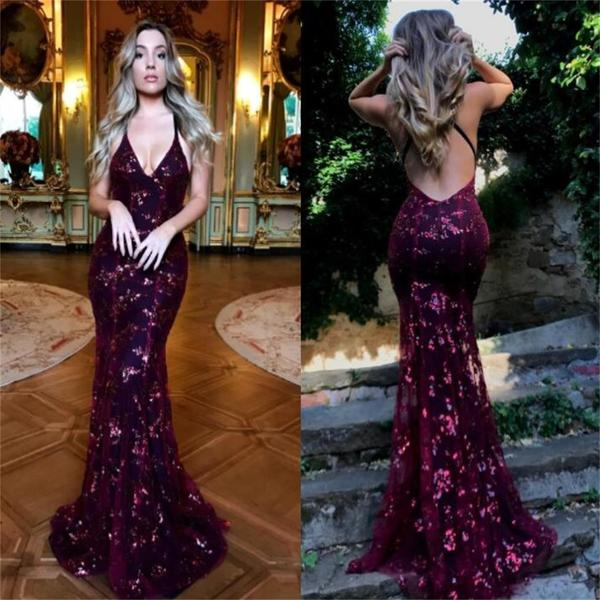 Ulass 2017 Charming New Red Sequin Unique Design Popular Sexy Prom Dress, Evening Dress, Party Dresses